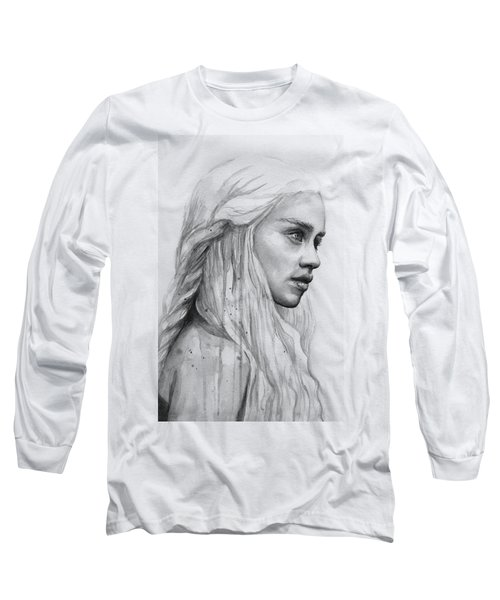 Daenerys Watercolor Portrait Long Sleeve T-Shirt by Olga Shvartsur