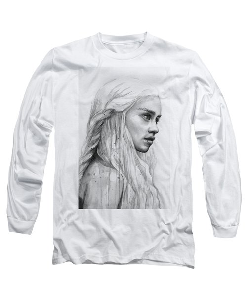 Daenerys Watercolor Portrait Long Sleeve T-Shirt by Olga Shvartsur