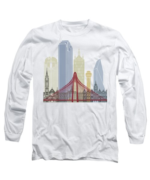 Dallas Skyline Poster Long Sleeve T-Shirt by Pablo Romero