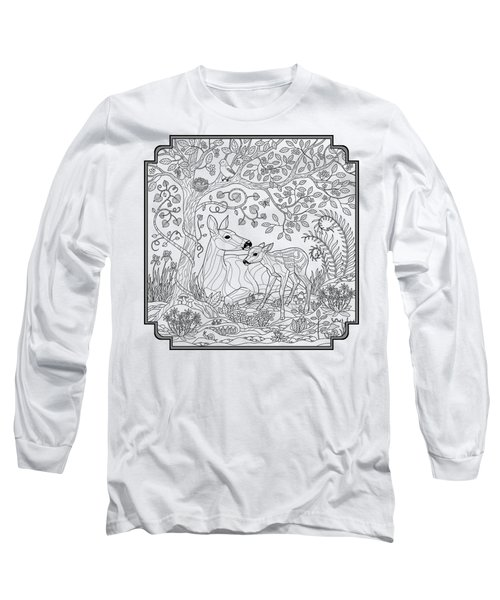Deer Fantasy Forest Coloring Page Long Sleeve T-Shirt by Crista Forest