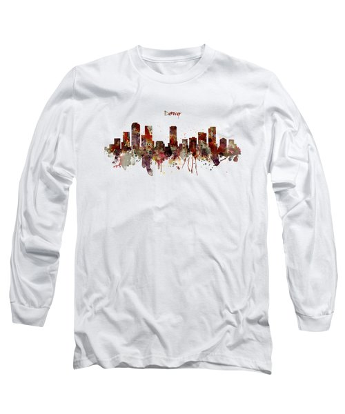 Denver Skyline Silhouette Long Sleeve T-Shirt by Marian Voicu
