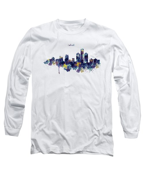 Detroit Skyline Silhouette Long Sleeve T-Shirt by Marian Voicu