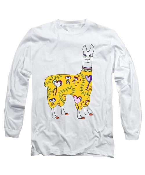 Difficult Llama Yellow Long Sleeve T-Shirt by Sarah Rosedahl