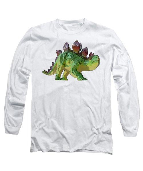 Dino Stegosaurus Long Sleeve T-Shirt by Miroslav Nemecek