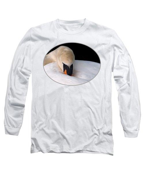 Do Not Disturb - Swan On Nest Long Sleeve T-Shirt by Gill Billington