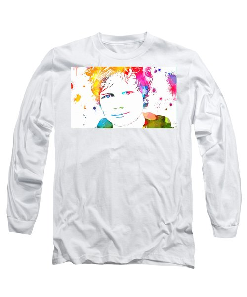 Ed Sheeran Paint Splatter Long Sleeve T-Shirt by Dan Sproul