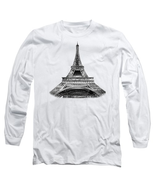Eiffel Tower Design Long Sleeve T-Shirt by Irina Sztukowski