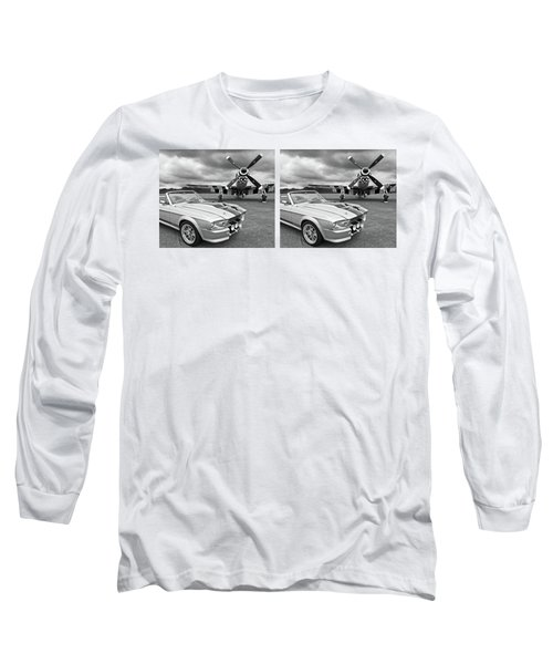 Eleanor Mustang With P51 Black And White Long Sleeve T-Shirt by Gill Billington
