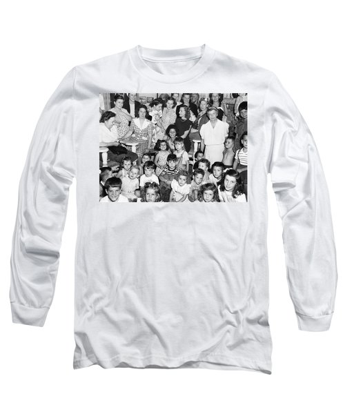 Eleanor Roosevelt And Children Long Sleeve T-Shirt by Underwood Archives