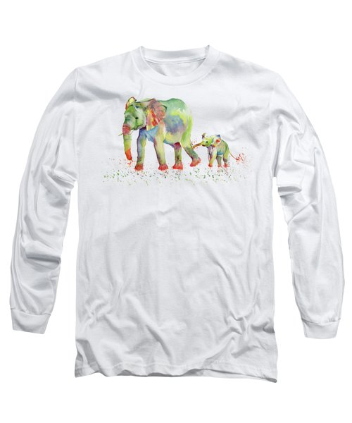 Elephant Family Watercolor  Long Sleeve T-Shirt by Melly Terpening