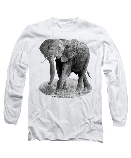 Elephant Happy And Free In Black And White Long Sleeve T-Shirt by Gill Billington