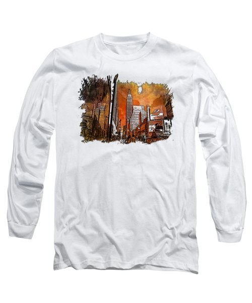 Empire State Reflections Earthy Rainbow 3 Dimensional Long Sleeve T-Shirt by Di Designs
