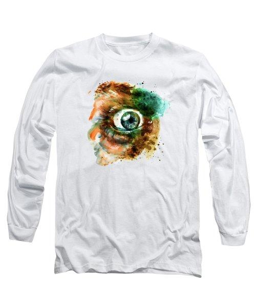 Fear Eye Watercolor Long Sleeve T-Shirt by Marian Voicu