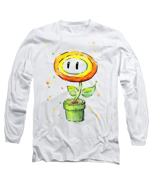 Fireflower Watercolor Long Sleeve T-Shirt by Olga Shvartsur