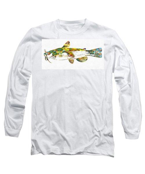 Fish Art Catfish Long Sleeve T-Shirt by Dan Sproul