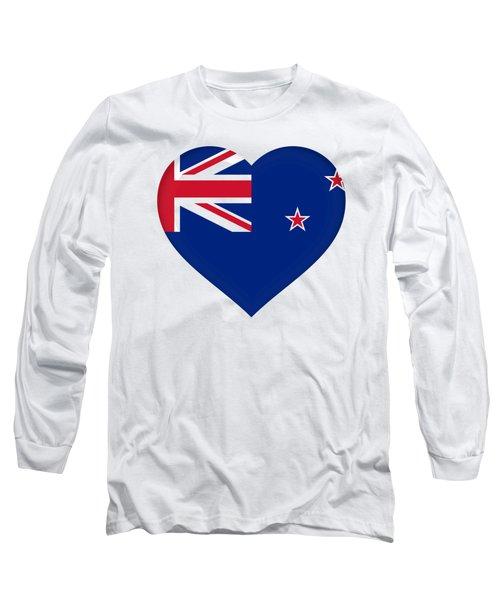 Flag Of New Zealand Heart Long Sleeve T-Shirt by Roy Pedersen