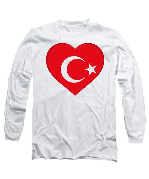 Flag Of Turkey Heart Long Sleeve T-Shirt by Roy Pedersen
