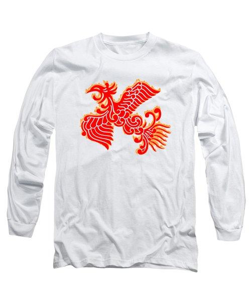 Flaming Red Phoenix Rising Long Sleeve T-Shirt by Nathan Beardsley