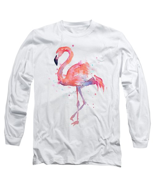 Flamingo Love Watercolor Long Sleeve T-Shirt by Olga Shvartsur