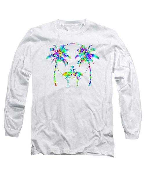 Flamingos In Love - Splatter Art Long Sleeve T-Shirt by Shara Lee