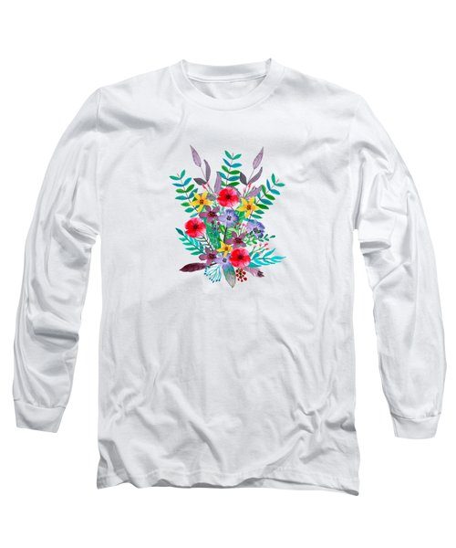 Floral Bouquet Long Sleeve T-Shirt by Amanda Lakey