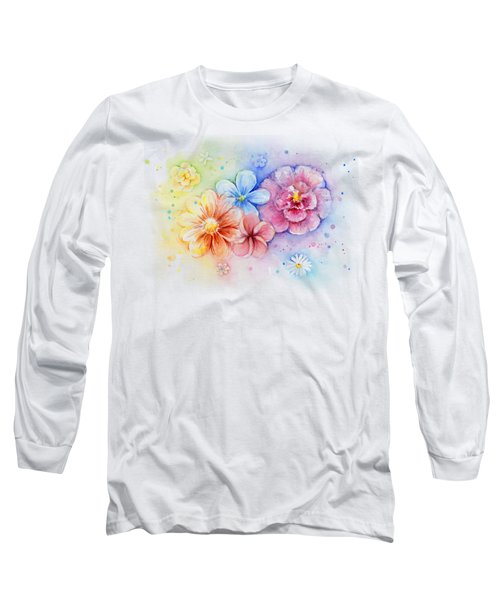 Flower Power Watercolor Long Sleeve T-Shirt by Olga Shvartsur