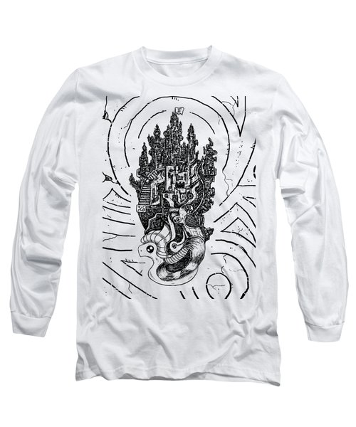 Flying Castle Long Sleeve T-Shirt by Sotuland Art