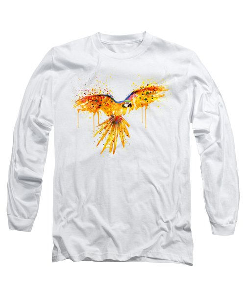 Flying Parrot Watercolor Long Sleeve T-Shirt by Marian Voicu