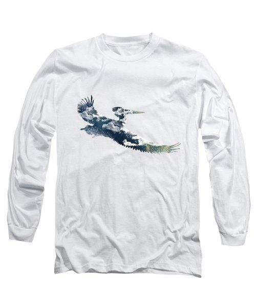 Flying Pelican Long Sleeve T-Shirt by Diana Van