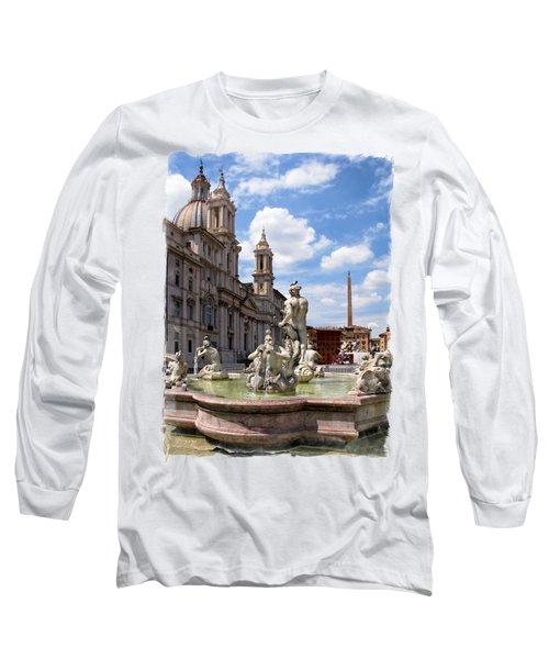 Fontana Del Moro.rome Long Sleeve T-Shirt by Jennie Breeze