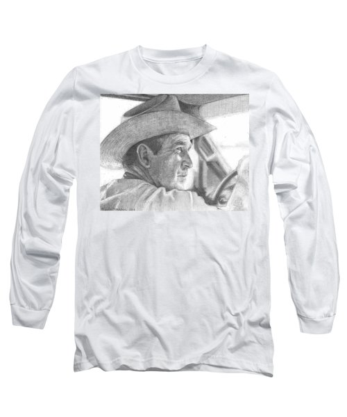 Former Pres. George W. Bush Wearing A Cowboy Hat Long Sleeve T-Shirt by Michelle Flanagan