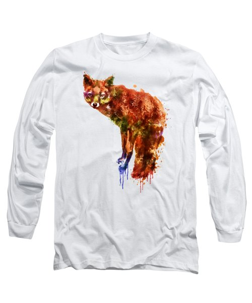 Foxy Lady Watercolor Long Sleeve T-Shirt by Marian Voicu