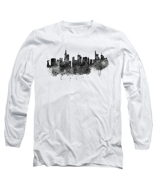 Frankfurt Black And White Skyline Long Sleeve T-Shirt by Marian Voicu