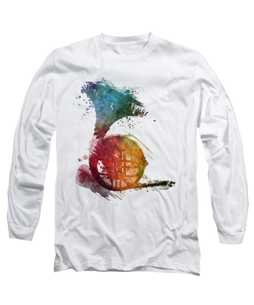 French Horn Colored Musical Instruments Long Sleeve T-Shirt by Justyna JBJart