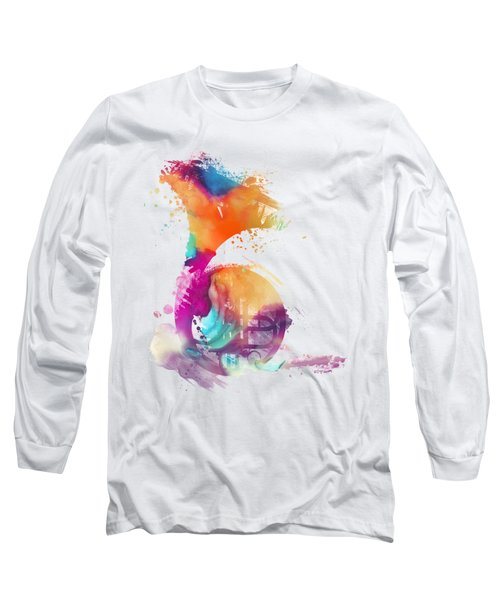 French Horn Watercolor Musical Instruments Long Sleeve T-Shirt by Justyna JBJart