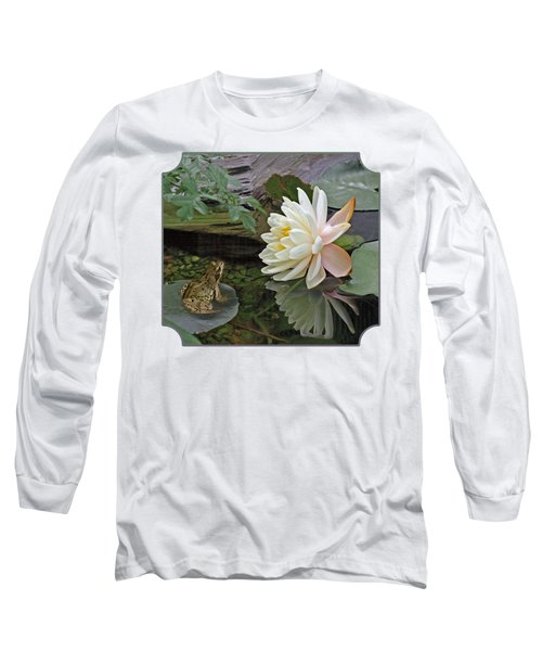 Frog In Awe Of White Water Lily Long Sleeve T-Shirt by Gill Billington