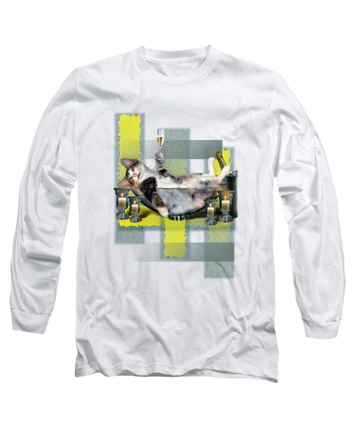 Funny Pet Print With A Tipsy Kitty  Long Sleeve T-Shirt by Regina Femrite