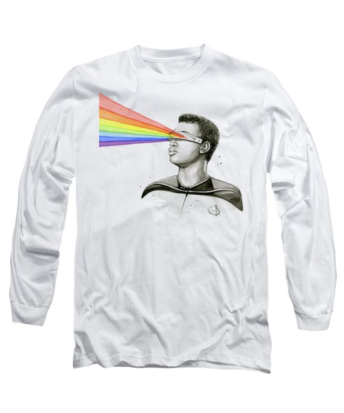 Geordi Sees The Rainbow Long Sleeve T-Shirt by Olga Shvartsur