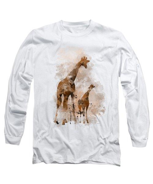 Giraffe And Baby Long Sleeve T-Shirt by Marlene Watson