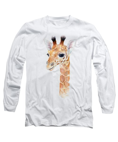 Giraffe Watercolor Long Sleeve T-Shirt by Olga Shvartsur