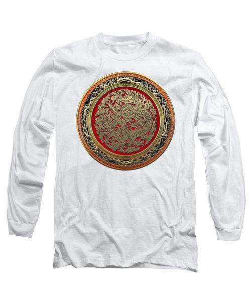 Golden Chinese Dragon White Leather  Long Sleeve T-Shirt by Serge Averbukh