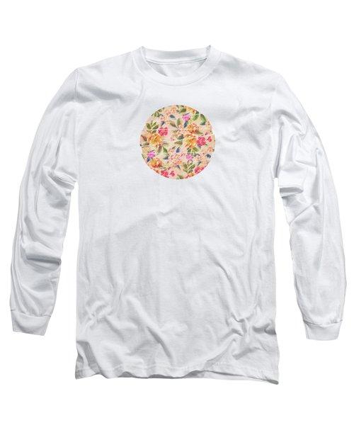 Golden Flitch Digital Vintage Retro  Glitched Pastel Flowers  Floral Design Pattern Long Sleeve T-Shirt by Philipp Rietz