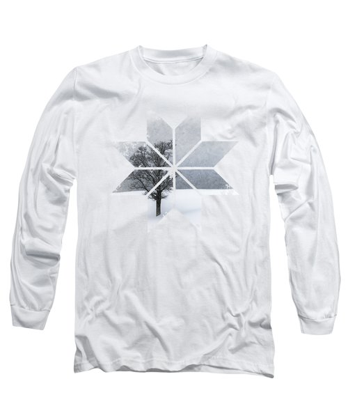 Graphic Art Snowflake Lonely Tree Long Sleeve T-Shirt by Melanie Viola