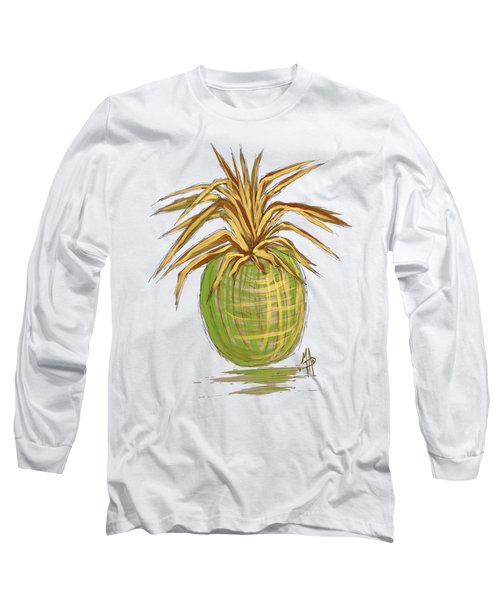 Green Gold Pineapple Painting Illustration Aroon Melane 2015 Collection By Madart Long Sleeve T-Shirt by Megan Duncanson