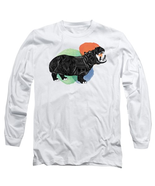 Hippo Long Sleeve T-Shirt by Serkes Panda