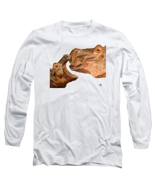 Hippos Long Sleeve T-Shirt by Angeles M Pomata