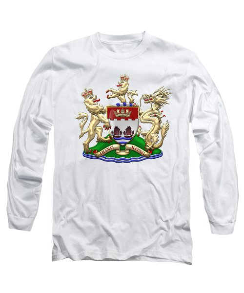 Hong Kong - 1959-1997 Coat Of Arms Over White Leather  Long Sleeve T-Shirt by Serge Averbukh