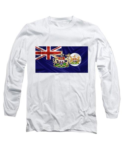 Hong Kong - 1959-1997 Historical Coat Of Arms Over British Hong Kong Flag  Long Sleeve T-Shirt by Serge Averbukh