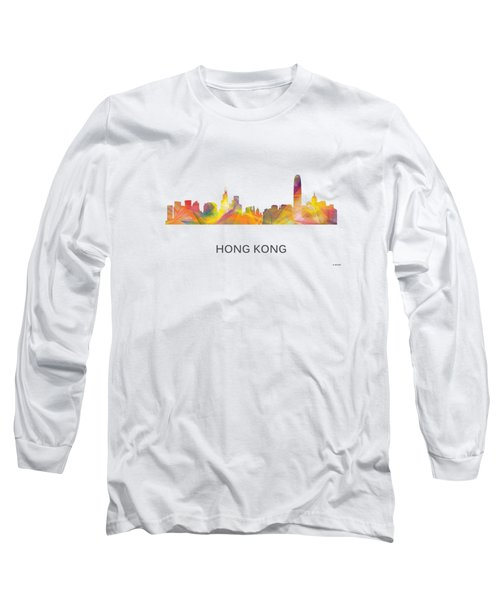 Hong Kong China Skyline Long Sleeve T-Shirt by Marlene Watson