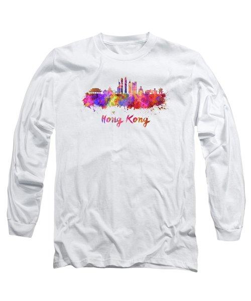 Hong Kong V2 Skyline In Watercolor Long Sleeve T-Shirt by Pablo Romero